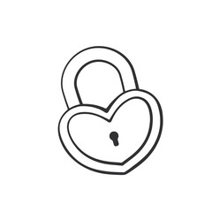 Vector illustration. Hand drawn doodle of padlock in heart shape. Cartoon sketch. Decoration for greeting cards, posters, emblems