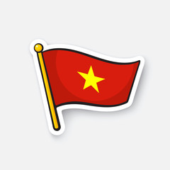 Vector illustration. Flag of Vietnam on flagstaff. Location symbol for travelers. Cartoon sticker with contour. Decoration for greeting cards, posters, patches, prints for clothes, emblems