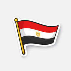 Vector illustration. Flag of Egypt on flagstaff. Location symbol for travelers. Cartoon sticker with contour. Decoration for greeting cards, posters, patches, prints for clothes, emblems