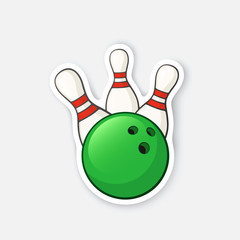 Vector illustration. Green bowling ball knocks down pins. Sports equipment. Cartoon sticker in comics style with contour. Decoration for greeting cards, posters, patches, prints for clothes, emblems