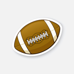 Vector illustration. Leather American football ball. Sports equipment. Cartoon sticker in comics style with contour. Decoration for greeting cards, posters, patches, prints for clothes, emblems