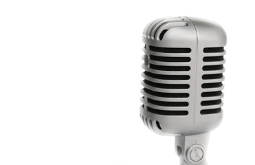 microphone vintage style close up.  on white background