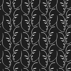 White hand drawn faces pattern on black background