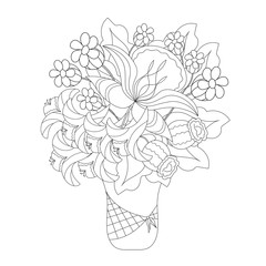 Coloring book for adults and children. Bouquet of Fantasy flowers in vase. Black and white vector illustration.