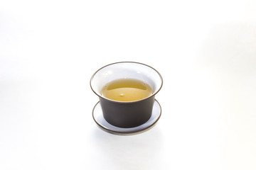 The Chinese tea-things for ceremonies on a white background