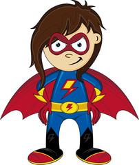 Cute Heroic Cartoon Superhero Girl