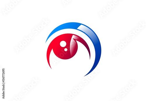 eye vision logo circle red eye visual logo icon global swirl