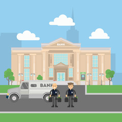 Cash transit guards with van. Two smiling men in bulletproof vests with money bags. Landscape with bank building.