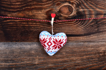 Heart on a beautiful old wooden background as love concept for valentines day