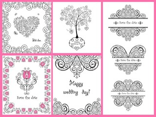 Decorative greeting cards for wedding and holiday design