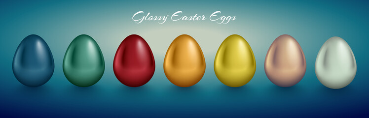 Glossy metallic egg set. Golden, silver, blue, red, green, red, orange, yellow, white color reflect paint. Turquoise deep retro background. Horizontal collection for Easter card or banner design