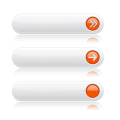 White oval buttons with orange arrows. Menu interface elements with metal frame
