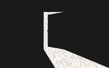 Open backdoor in a black wall cybersecurity concept illustration