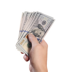 Dollars in man hand isolated on white background