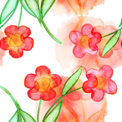 Seamless decorative background with watercolor painted elements.