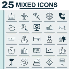 Set Of 25 Universal Editable Icons. Can Be Used For Web, Mobile And App Design. Includes Elements Such As Wax, Baggage Carousel, Siren And More.