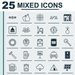 Set Of 25 Universal Editable Icons. Can Be Used For Web, Mobile And App Design. Includes Elements Such As Ale, Extract Device, Rucksack And More.