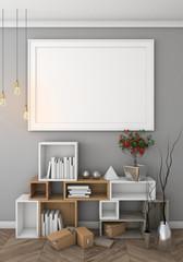 mock up poster with pastel hipster minimalism interior background, 3D rendering, 3D illustration