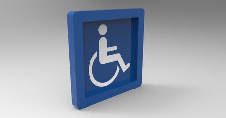 3D Illustration OF A Handicap Disabled Sign