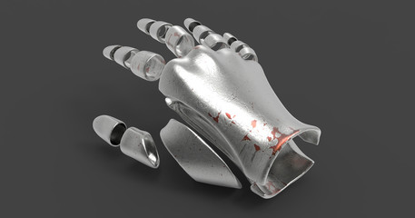 3D Illustration Of A Segmented Humanoid Hand