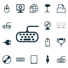 Set Of 16 Computer Hardware Icons. Includes File Scanner, Cellphone, Aux Cord And Other Symbols. Beautiful Design Elements.