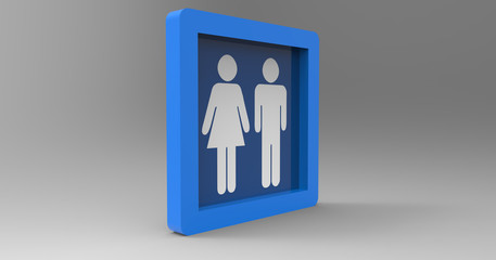 3D Illustration Of A Male Female Restroom Sign