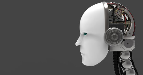 3D Illustration Of A Humanoid Android Robotic Head