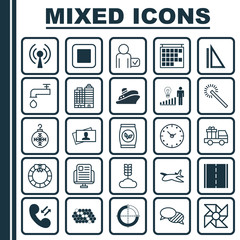 Set Of 25 Universal Editable Icons. Can Be Used For Web, Mobile And App Design. Includes Elements Such As Photo Camera, Decision Making, Radio Waves And More.