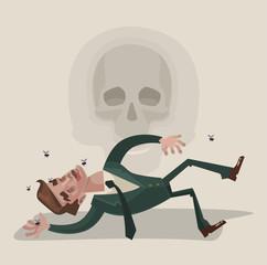 Dead office worker character. Vector flat cartoon illustration