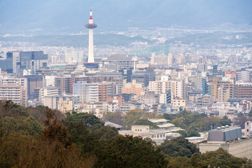 Kyoto city skyline with Kyoto tower
