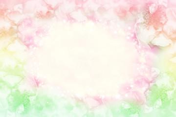pastel rose flower frame on soft bokeh vintage background for valentine or wedding