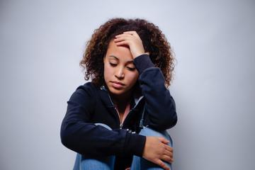 Sad afro-american woman portrait