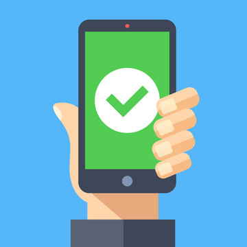 Green check mark icon on smartphone screen. Hand holding smartphone with green tick. Modern flat design graphic elements for web banner, web sites, printed materials, infographics. Vector illustration