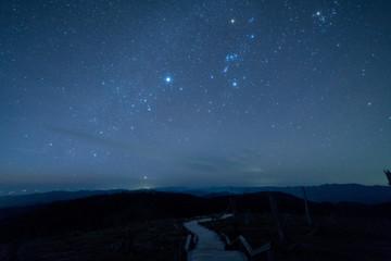 Starry sky of Masaki mountain pass at Odaigahara,nara,japan