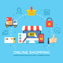 Online shopping. Flat design graphic elements, signs, symbols, line icons set. Premium quality. Modern concept for web banners, websites, infographics, printed materials. Creative vector illustration