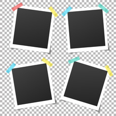 Wall Mural - Collection of vintage vector template photo frames with adhesive tape. Mockup photo frame set Isolated on transparent background. Design for your photography and picture. Vector retro Illustration.