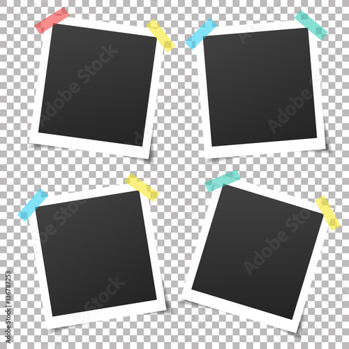 Collection of vintage vector template photo frames with adhesive ...