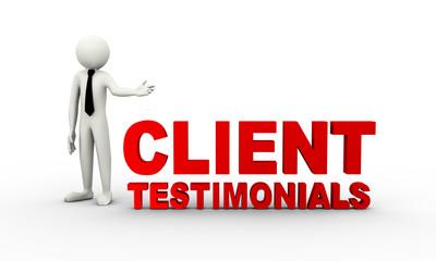 3d man presentation of client testimonials