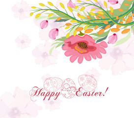 Happy Easter card with a lettering and cartoon flowers