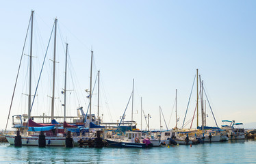 Sailboats at the marina in Akko, Israel