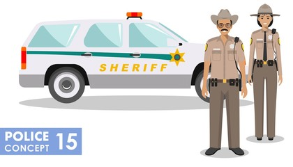 Policeman concept. Detailed illustration of american policeman and policewoman standing together near the police car in flat style on white background. Vector illustration.