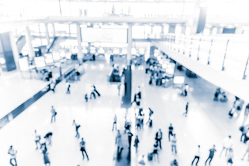 Abstract blur airport interior for background at Hong Kong with blue tone