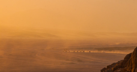Deserts and Sand Dunes Landscape at Sunset