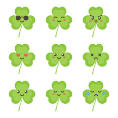 Cute flat design clover, shamrock leaf character with different facial expressions, emotions. Set, collection of emoji isolated on white background.
