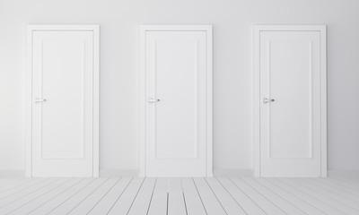 Interior with three white closed doors