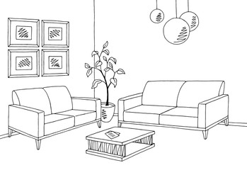 Waiting room graphic black white interior sketch illustration vector