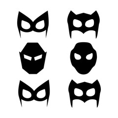 Super hero masks set. Superhero masks for face character in flat