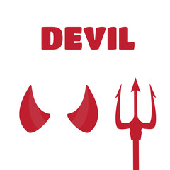 Devil horns and trident set vector illustration. Devil horns vec