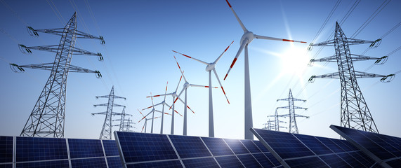 Hochspannungsleitungen mit Solaranlage und Windrädern 1