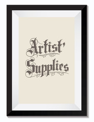 Vintage Retro Vector Drawing Illustration of an Artist Supplies Sign in a Frame